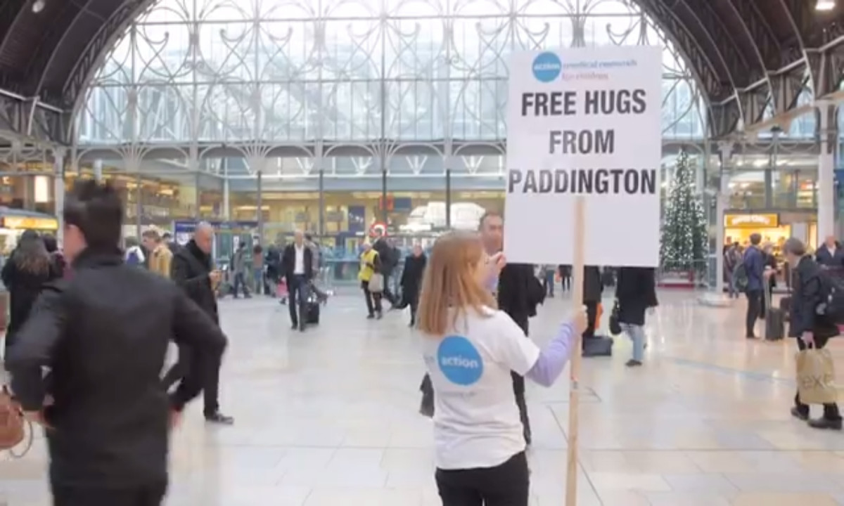 Free hugs from Paddington Bear